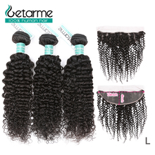 Getarme 13x4 Kinky Curly Human Hair Bundles With Frontal Lace Closure Remy Brazilian Human Hair Frontal With Bundles