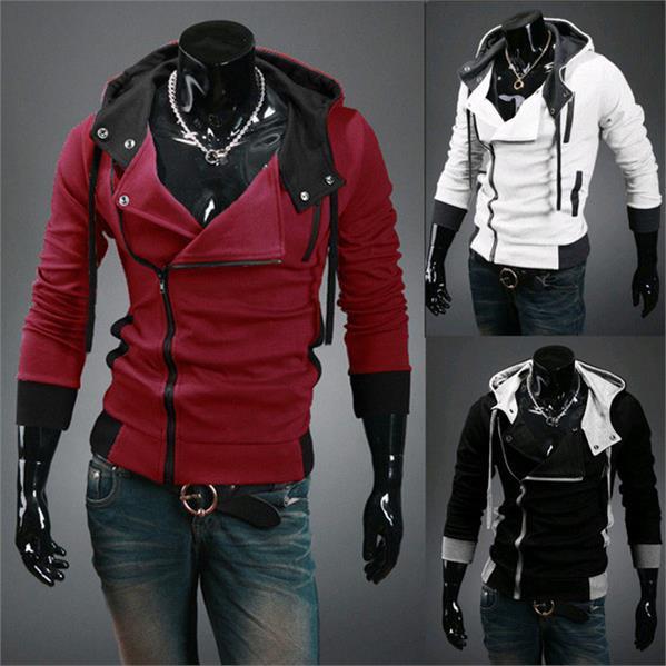 cholyl Side Zipper Patchwork Hoodies Men Casual