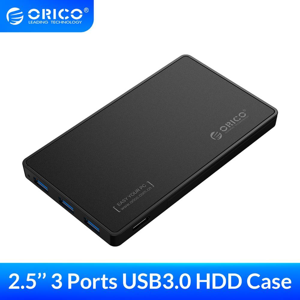 Корпус для жесткого диска ORICO 2,5 дюйма, чехол для жесткого диска USB 3,0 с 3 портами, концентратор USB 3,0, без инструмента, для SSD-накопителя 7 мм/9,5 мм
