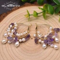 GLSEEVO Freshwater Pearl Hoop Earrings Wedding Purple Crystal Couple Korean Boutique Jewelry Pendientes GE0992B