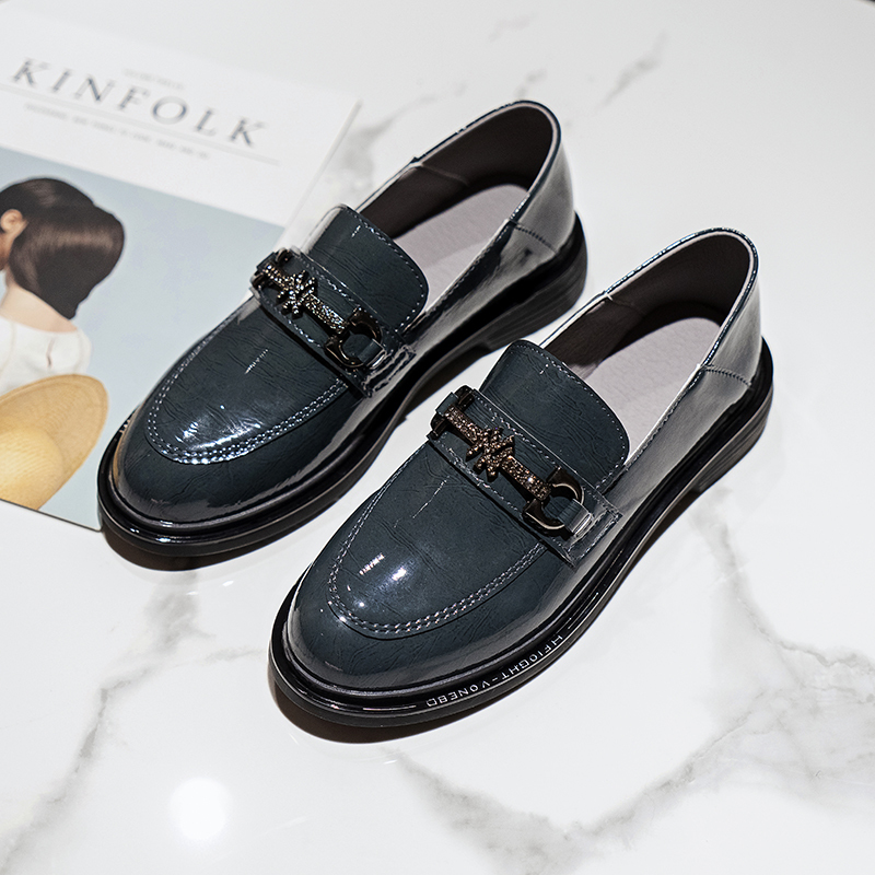 2020 Spring New Patent Leather British Round Flat White-CollarLoafers Casual Retro Fashion Shallow Women's Black Leather Shoes