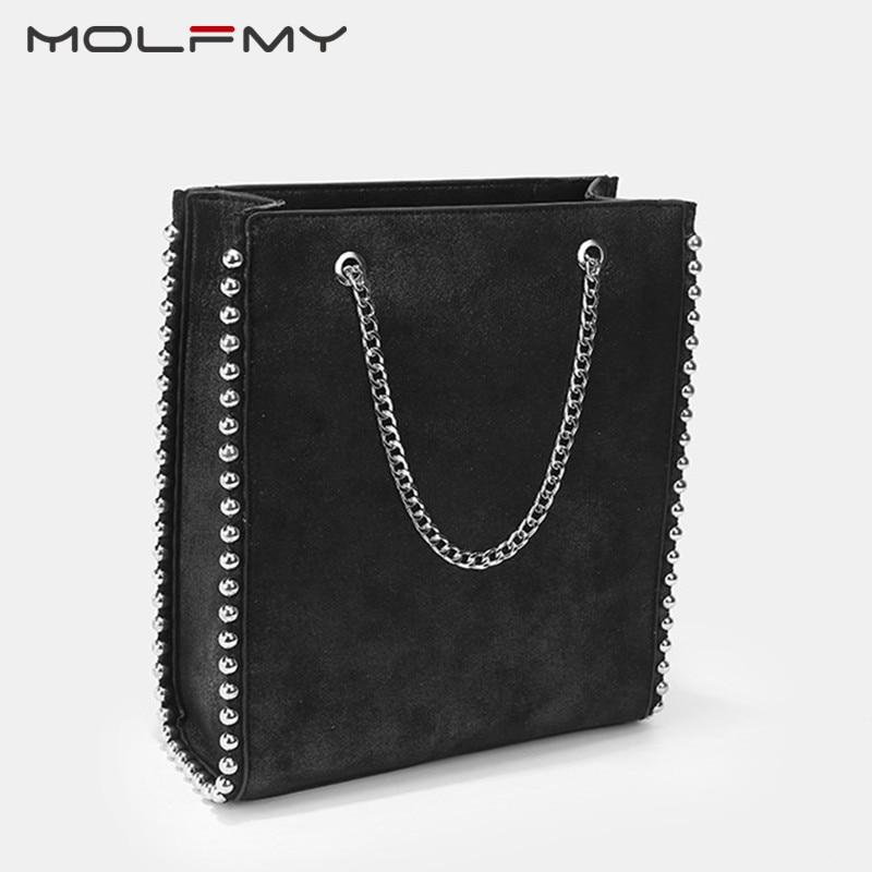 Вместительная женская сумка-тоут в стиле ретро, модные сумки на плечо с цепочкой и заклепками, женские сумочки из искусственной кожи для пое...