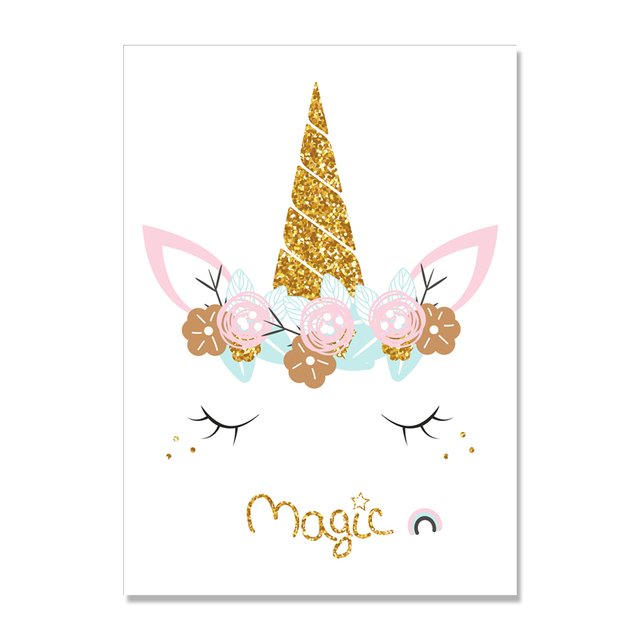 Baby Poster Unicorn Nursery Art Painting ABC Alphabet Canvas Print Nordic Poster Wall Pictures For Kids Girl Room Decoration