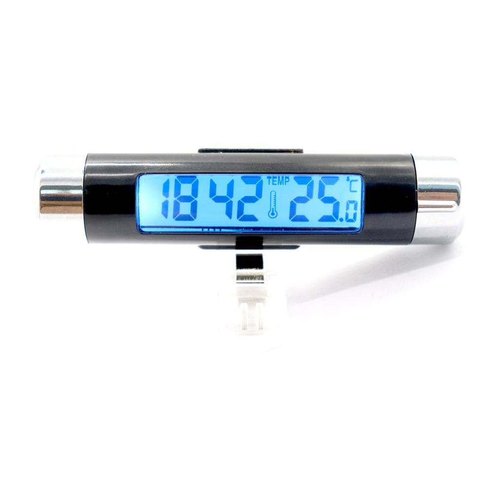 Car Thermometer Vehicle Time Clock With Luminous Function Auto Electric Watch Automotive Anti High Low Temperatur Blue