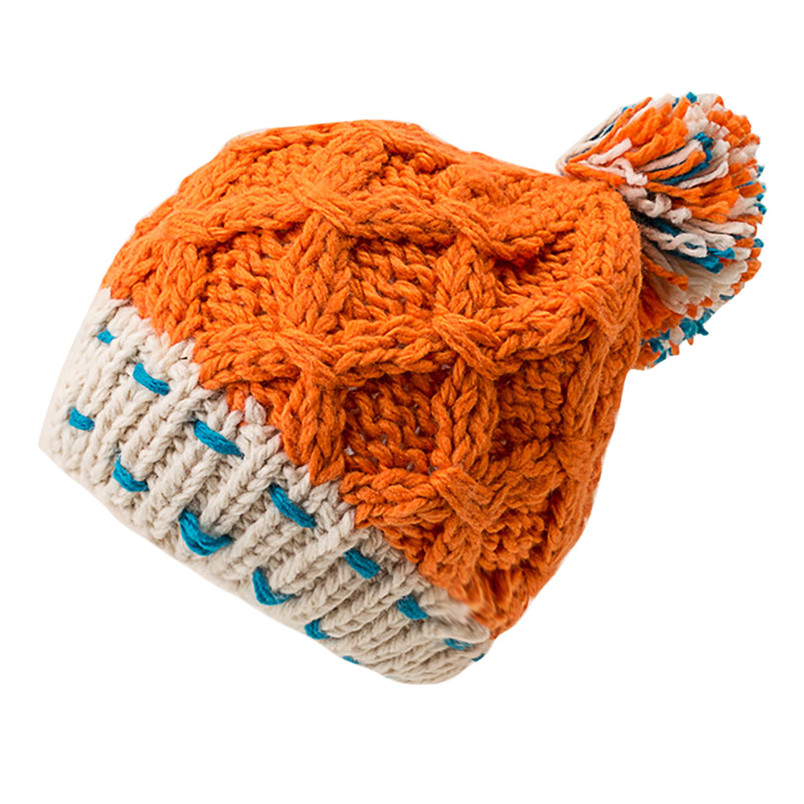 Fashion Women Cute Patchwork Thermal Woolen Hat Knitted Hat Bucket Hat Cap Colorful Winter Accessories 30DE22 (2)
