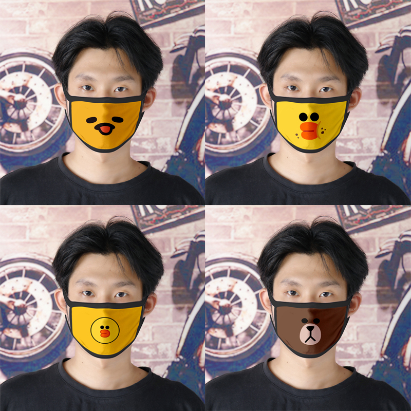 Cotton Mask Dustproof Cartoon Expression Teeth Muffle Chanyeol Animal Print Windproof Warm Face Mouth Mask Kpop Bear Mouth Mask