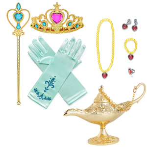 Girls Jasmine Belle Princess Accesories Jewelry for Kids Cosplay Party Aladdin's Lamp Crown Wand Necklace Bracelet Earrings Set(China)