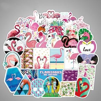 50PCS Flower Flamingo Sticker Animal Cute Cartoon Decals Stickers for Children To Laptop Suitcase Guitar Fridge Bicycle Car 25 2pcs cartoon name sticker waterproof animal decals kawaii flamingo tags multicolour flower fruit labels for children stickers