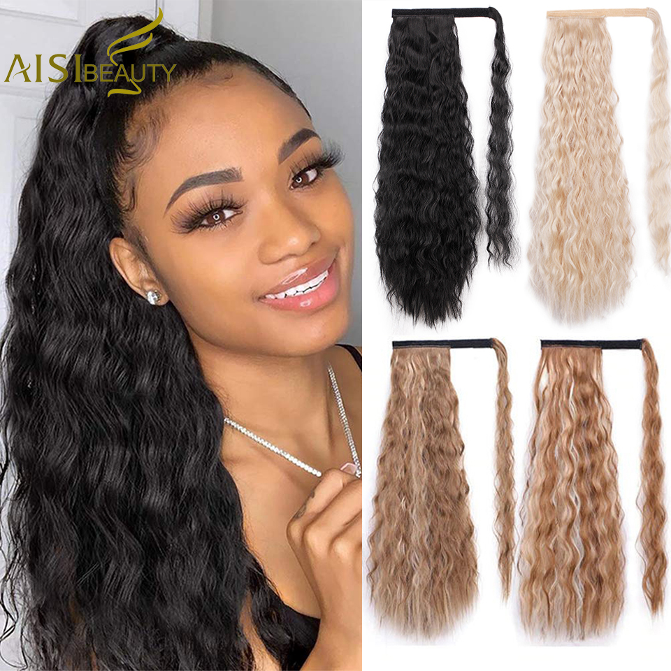 Wavy Ponytail Extension For Women Synthetic Wrap Around Magic Paste Yaki Ponytail Corn Clip In Hairpiece Black Fake Hair