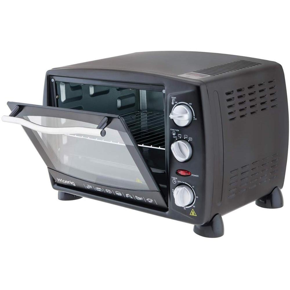 H. Koenig Mini Desktop Oven 18L Electric FO18 Possible Compact Efficient 1300W Programmable 3 Modes Bake, 230 °
