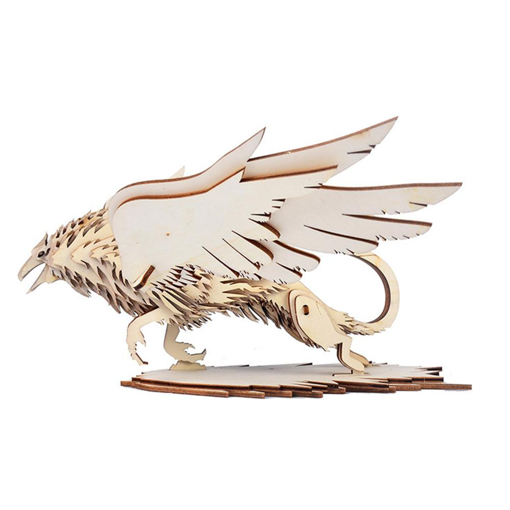 Wooden 3D Griffin Animal Model Puzzles DIY Assembly Art Crafts Early Education Toy Home Decoration Classical