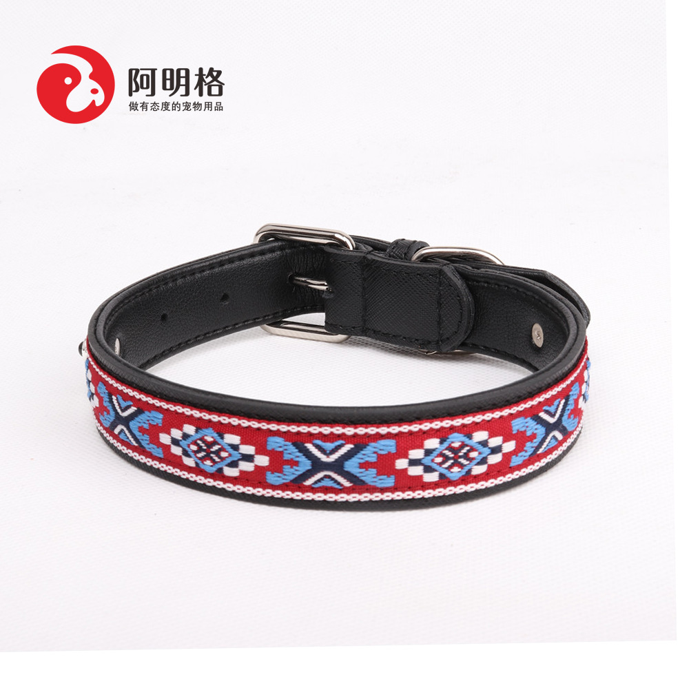 Amin Lattice Cross Border Pet New Products Manufacturers Direct Selling Pet Genuine Leather Neck Ring Large Dogs Neck Ring
