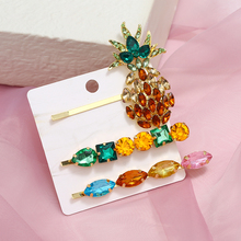 2019 Fashion Crystal Pineapple Hair Clips For Women Gold Color Korean Barrette Hairpins Girls Styling Accessories Headdress