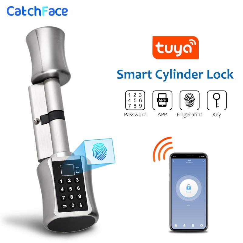 Bluetooth טביעות אצבע צילינדר מנעול Tuya APP ביומטרי אלקטרוני חכם דלת מנעול דיגיטלי לוח מקשים קוד Keyless מנעול בית/Apartme
