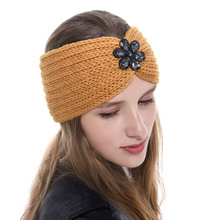 Autumn Winter Crochet Bow Headband for Women Girls Diamond Solid Color Knitted Hairband Hair Accessories