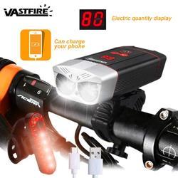 1200LM USB Sạc Xe Đạp Đèn Pha 5 Chế Độ Đạp Xe Đèn MTB Đường Xe Đạp Đèn Màn Hình LED Thông Minh