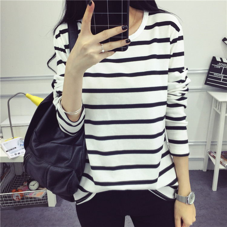Spring and Autumn Student Women's Clothes Slim Wild Lady Bottoming Shirt Top Round Neck Stripe Long Sleeve T-Shirt