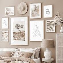 Línea de cama de Río y árbol de caña, cuadro sobre lienzo para pared, carteles nórdicos e impresiones, imágenes de pared para decoración para sala de estar