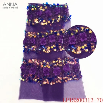 Anna french sequins lace nigerian tulle fabric 2020 high quality 3d applique fabrics african embroidery laces for garment sewing