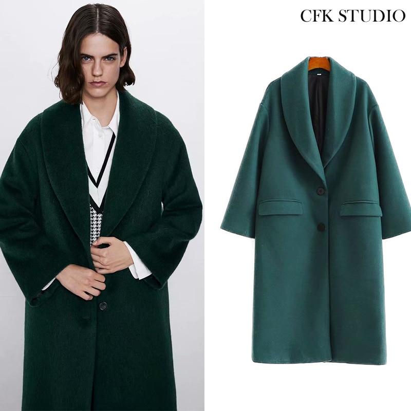 Женское элегантное длинное шерстяное пальто с двумя пуговицами, однотонная верхняя одежда с длинным рукавом, зимняя повседневная верхняя одежда, новинка 2020|Пальто| | АлиЭкспресс