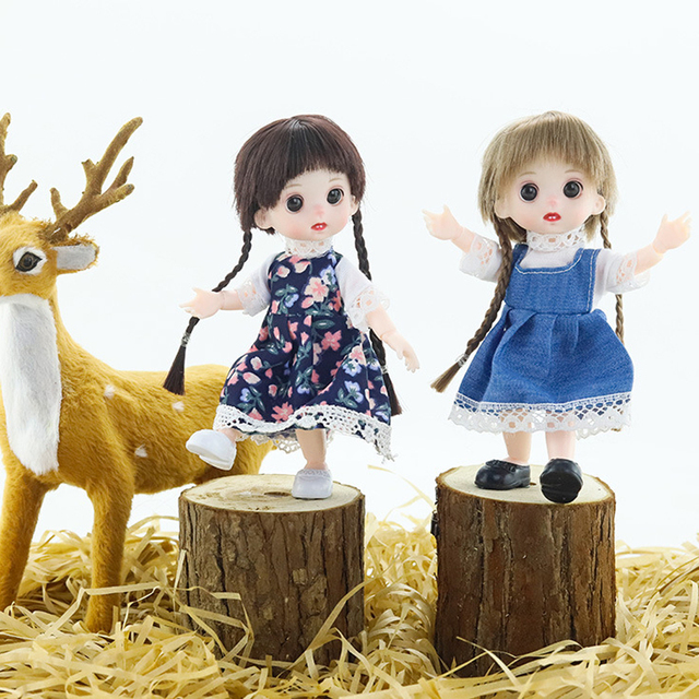 Mini Moveable Jointed Doll Toys 16cm 1/8 BJD Baby Doll Naked Doll's Practicing for Makeup Doll Head with Eyes Toys for Children 5