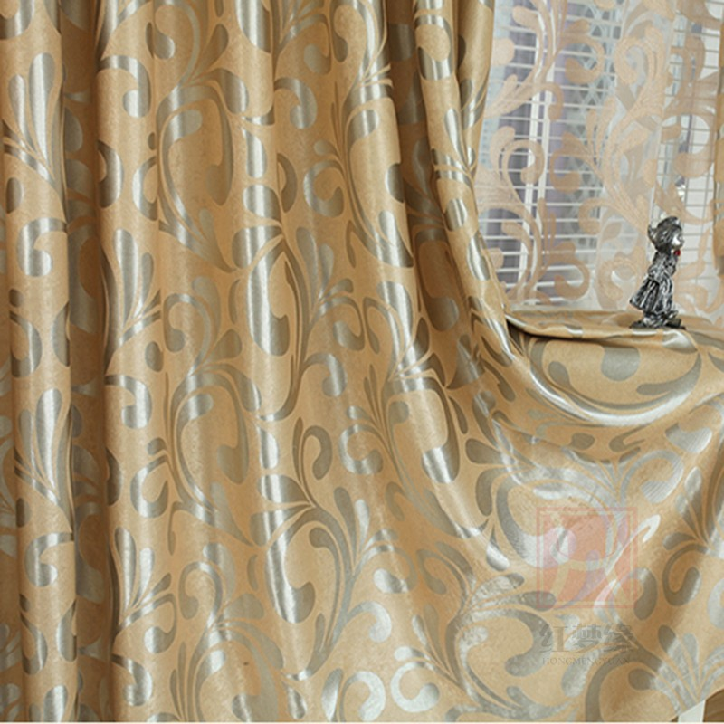 European Double Jacquard Curtain For Living Room Thickening