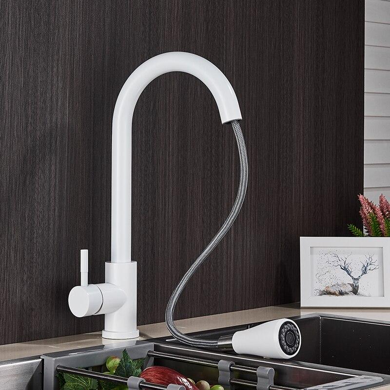 Hf9ed0e2127d448e2b6852d235395cbfdb Rozin Brushed Nickel Kitchen Faucet Single Hole Pull Out Spout Kitchen Sink Mixer Tap Stream Sprayer Head Chrome/Black Mixer Tap