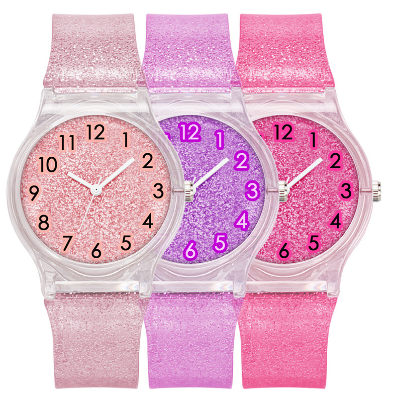 Hot Sale The New Transparent Glitter Plastic Strap The Dial Fashion Children's Watches Trend Kids Watches