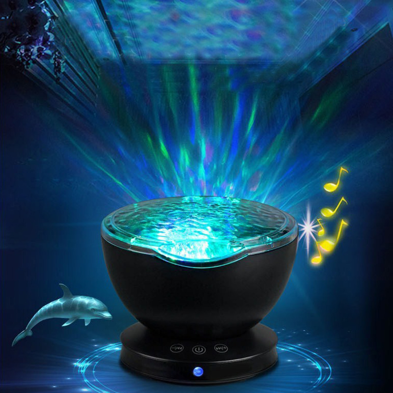 Ocean Wave Projector Led Night Light Aid Sleeping Romantic Soothing Water Wave USB LED Light Lamp Projector Music Player For Kid