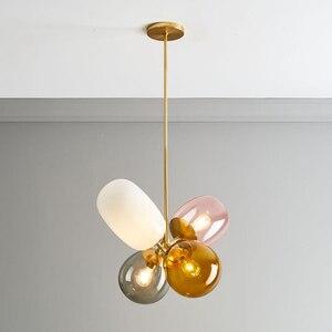 Image 3 - Moderno pendurado lâmpadas de teto quatro cor vidro abajur e27 luzes pingente para restaurante cozinha quarto iluminação