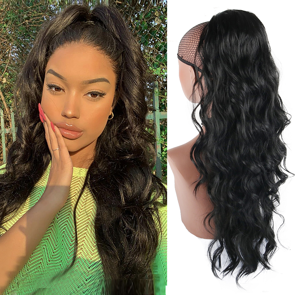 Synthetic Body Wave Ponytail 24 Inch Heat Resistant Drawstring Ponytail With Two Plastic Combs Ponytail Extensions