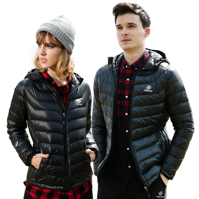 Tectop Winter Down Jacket Outdoor Men Women Thin And Light White Duck Down Hooded Sports Coat Camping Hiking Climbing Outerwear