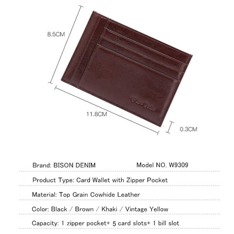 Bison denim garantia de couro genuíno design retro moeda bolsas titular do cartão de crédito do vintage bolso mini pequenas carteiras w9309