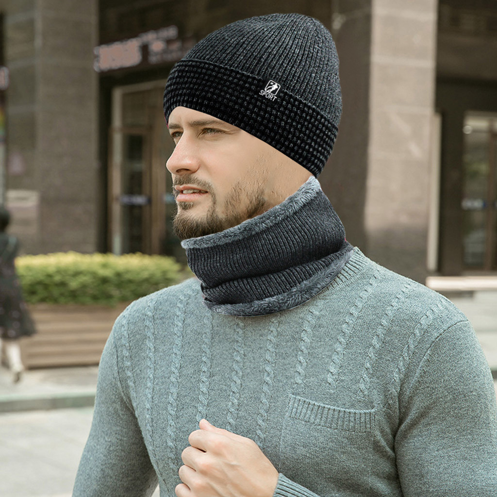 Men Warm Skullies Beanie + Soft Scarf Two-Piece Set Winter Thicken Hat Male Windproof Knitting Caps Neck Warmer  12.6