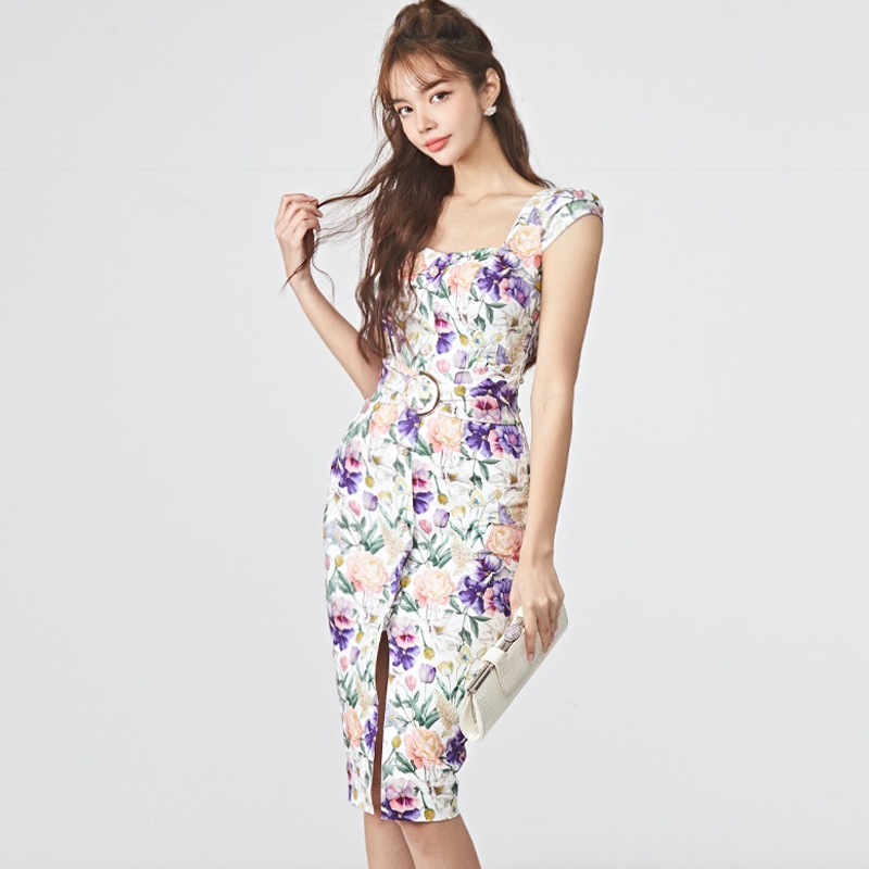 2020 summer dress new Korean version of the ladies' temperament Slim print split bag hip dress female