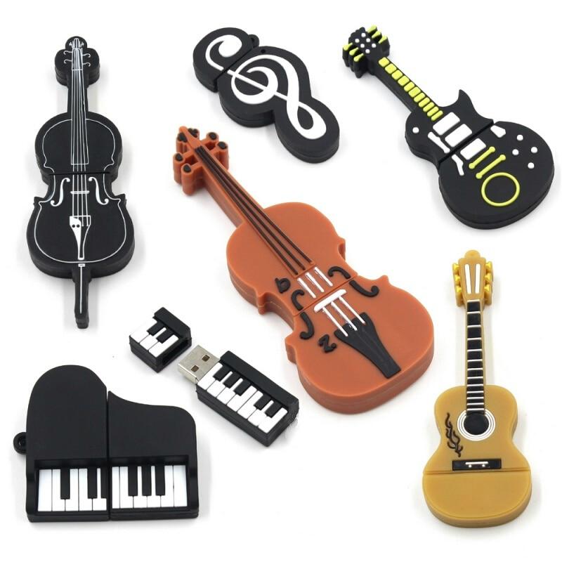 Usb Flash Drive Cartoon Piano Guitar Mike Pen Drive 4GB 8GB 16GB Pendrive 32GB 64GB Flash Memory Card 128GB Usb Stick Best Gift