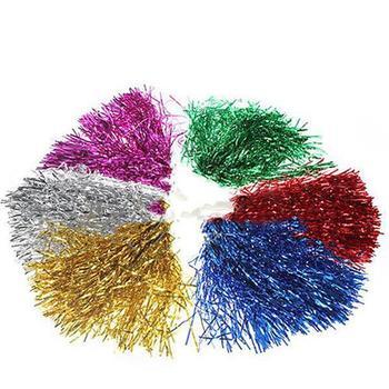 1PC Plastic Handle Metallic Streamer Pompoms Cheer Cheerleading Pom Ball Cheering Dance Decorator Club Sport Supply decorator