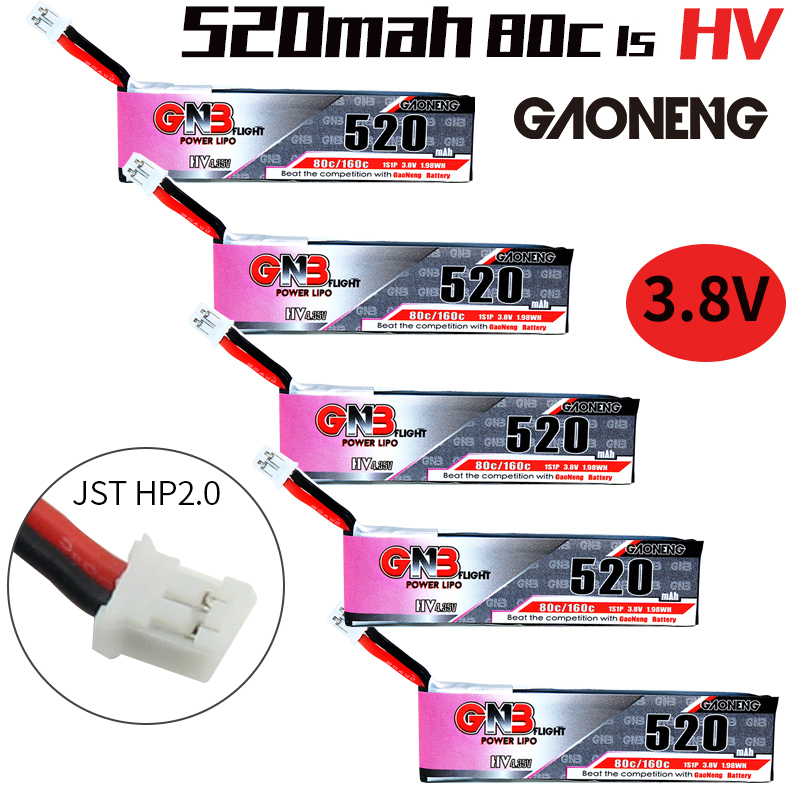 Gaoneng gnb fpv lipo bateria 520 mah 3.8 v 80c 1 s hv 4.35 v ph2.0 plug para emax tinyhawk ldarc minúsculo cine whoop betafpv zangão