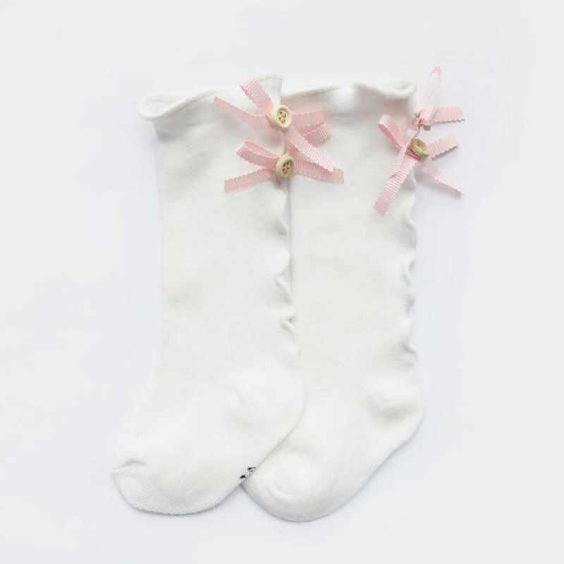 החדש כותנה תחרה קשת בינוני Bowknot גרבי עבור תינוק בנות פעוטות אביב סתיו ילדים גבוהה הברך גרב גבוהה-איכות legwarm