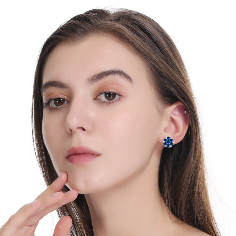 Crystal Zirconia  Fashion Small Heart Flower Woman Earrings  1