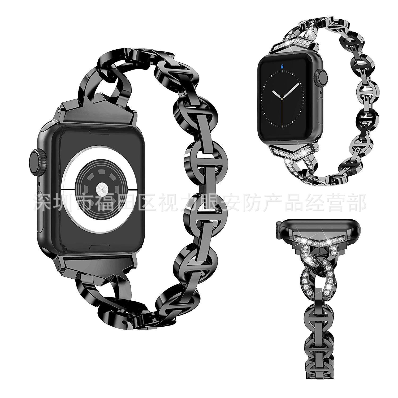 Applicable APPLE Watch1/2/3/4-Vo Diamond Set Metal Man-made Diamond Watch Strap IWatch Apple Diamond Set Watch Strap