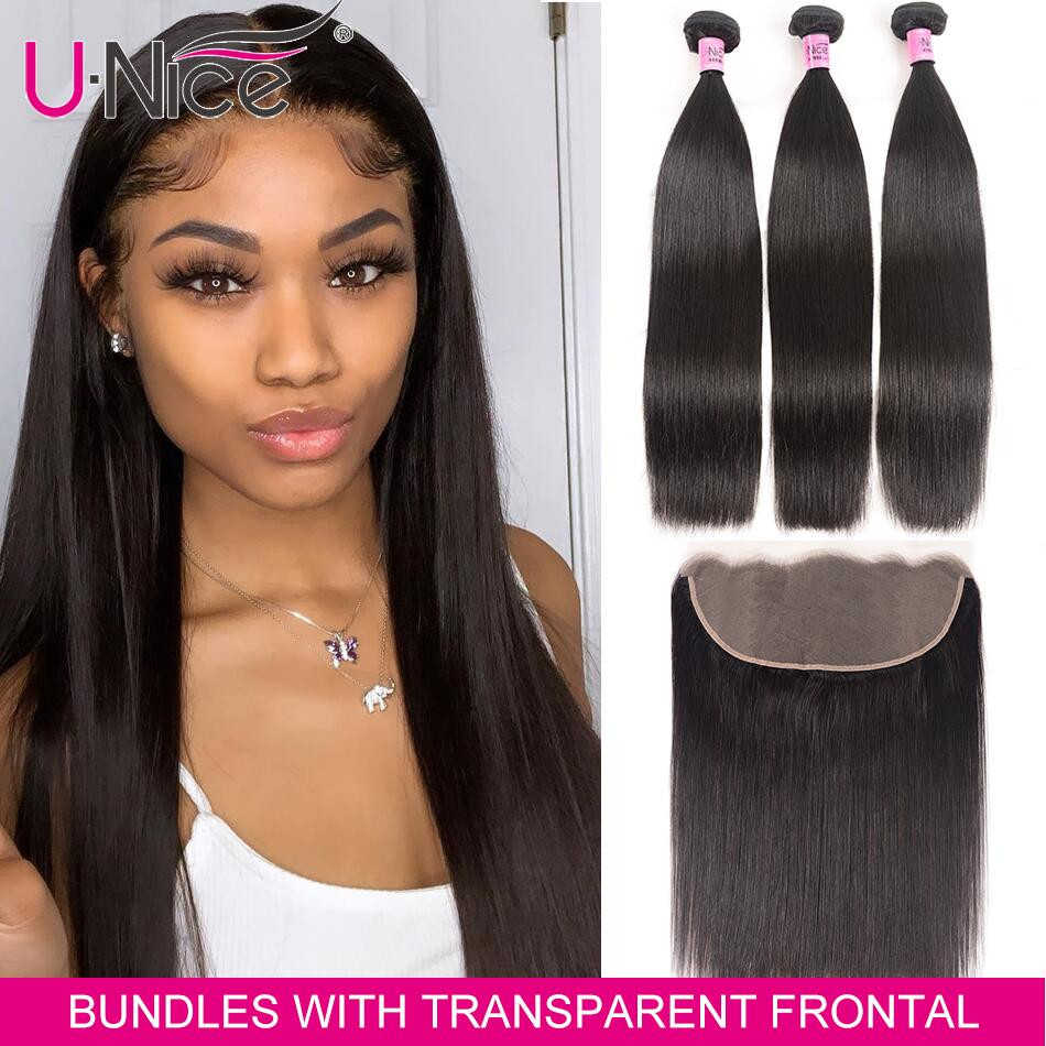 UNice Hair 13x4/6 Transparent Lace Frontal Closure With 3 Bundles Brazilian Straight Human Hair Bundles Lace Closure 4PCS