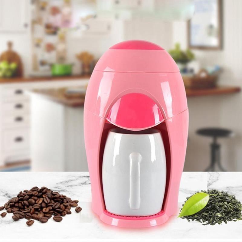 Ev Aletleri'ten Kahveciler'de Amerikan kahve makinesi küçük damla çay makinesi ev elektrikli taşınabilir çok fonksiyonlu demleme kahve makinesi pembe title=