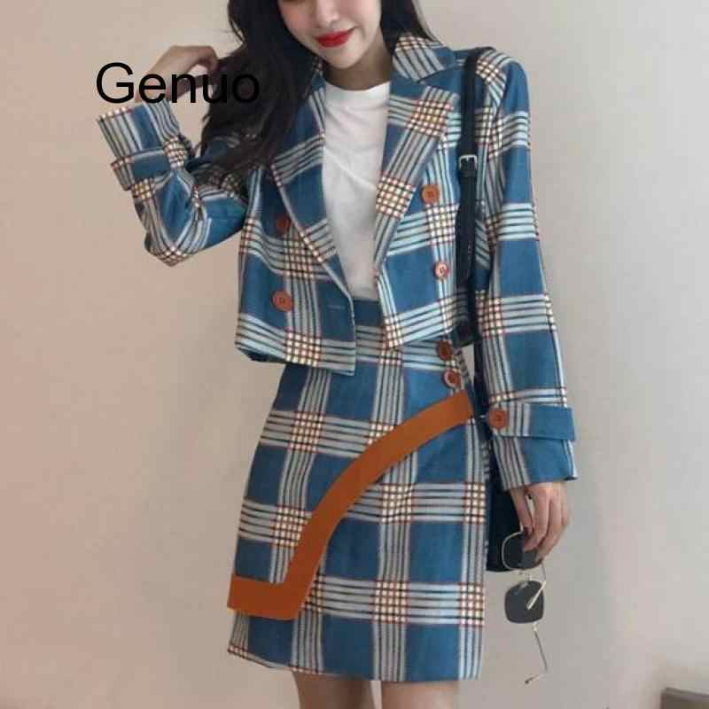 Two Piece checkered double breasted  Top and Skirt Suit Set