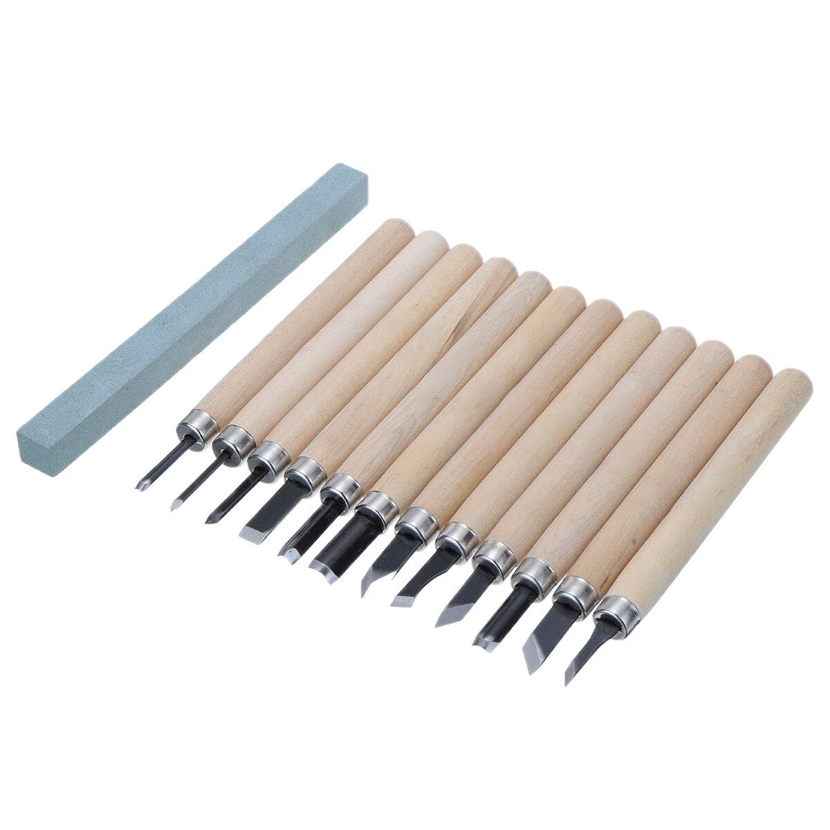 12 шт./компл. с высоким содержанием углерода Сталь резьба по дереву профессиональный чип деталь зубила для ручной инструмент для дерева 12 раз...