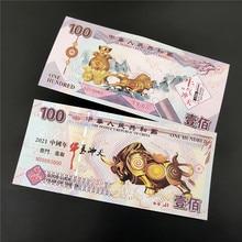 10 peças 2021 ano do boi 100 yuan papel notas de dinheiro colecionáveis não-moeda