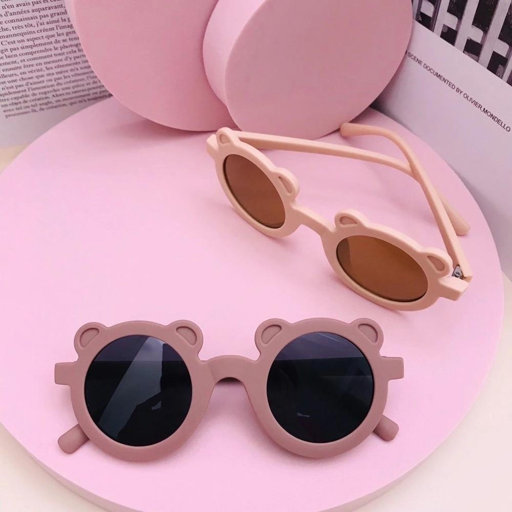 Gafas de sol con forma de oso para niños y niñas, lentes de sol infantiles con forma de oso, redondas, estilo urbano, bonitas