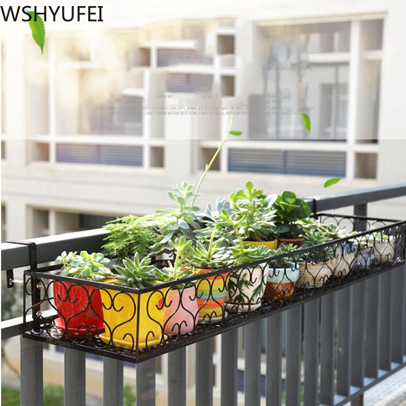 Hanging Rack Organizer Flower Pot Storage Basket Rack Closet Holders Balcony Rail Planter Shelf Fence Railing Flower Pots Holder