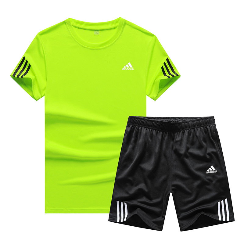 Casual Pants Sports Suit Shorts 2019 New Style Short Sleeve T-shirt Students Sports Basketball Two-Piece Set