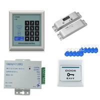 RFID Keypad Door Access Control System Kit Electric Magnetic Electronic Door Lock Power Supply 5Pcs Key Fobs Full Set Door Secur|Electric Lock| |  -